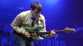 Singer/guitarist Rivers Cuomo of Weezer performs at PNC Music Pavilion on July 25, 2018 in Charlotte, North Carolina