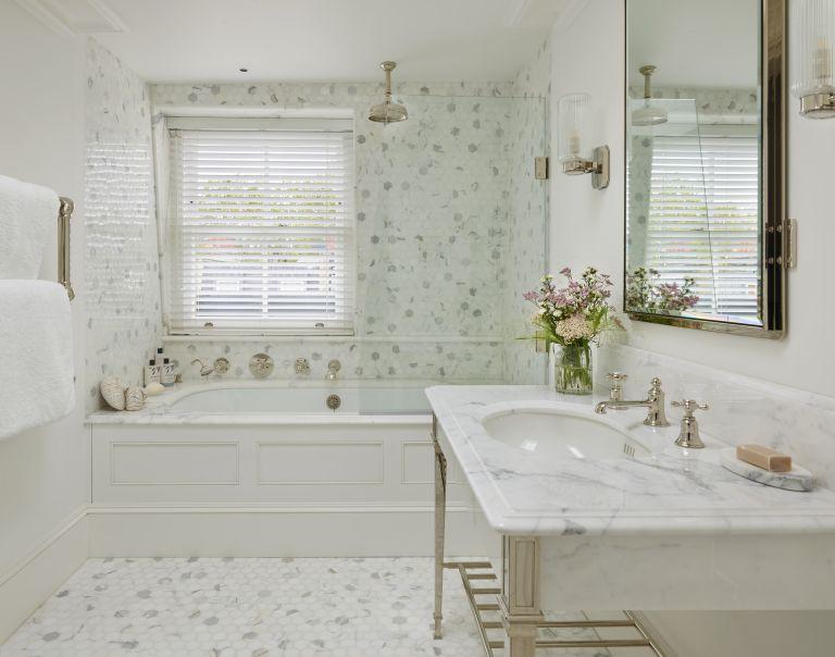 white bathroom tile in a bathroom