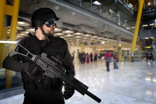soldiers, airport security, safety