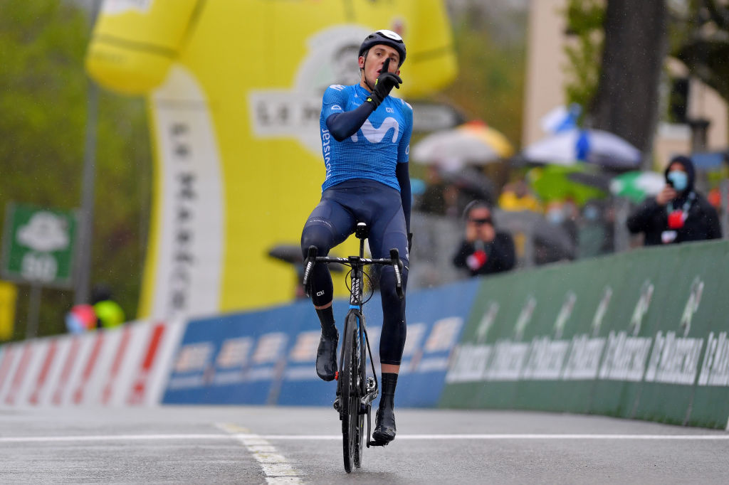 ESTAVAYER SWITZERLAND APRIL 30 Marc Soler Gimenez of Spain and Movistar Team celebrates at arrival during the 74th Tour De Romandie 2021 Stage 3 a 1687km stage from Estavayer to Estavayer TDR2021 TDRnonstop UCIworldtour on April 30 2021 in Estavayer Switzerland Photo by Luc ClaessenGetty Images