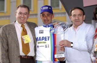 Mapei boss Giorgio Squinzi (left) with overall 2002 UCI World Cup winner Paolo Bettini