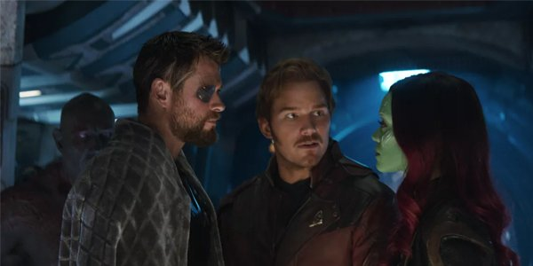 Thor Star Lord and Gamora in Avengers Infinity War