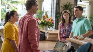 """From left, Jolene Purdy, Murray Bartlett, Alexandra Daddario, and Jake Lacy in """"The White Lotus"""" on HBO."""