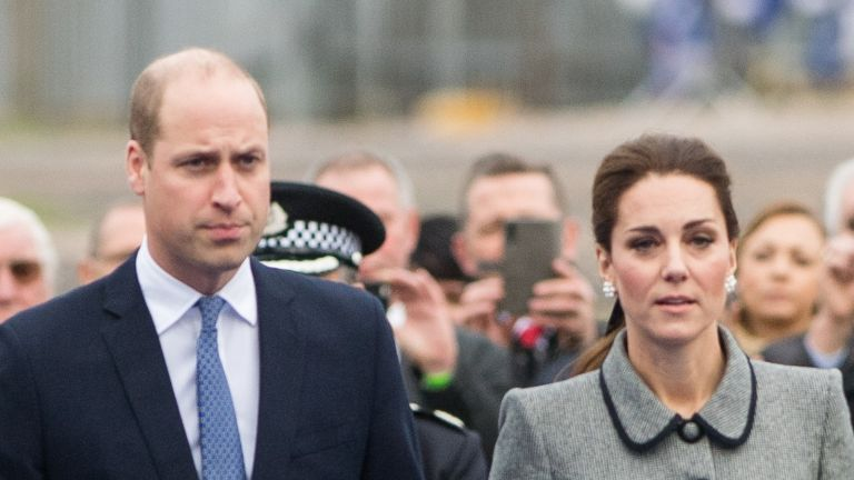 LEICESTER, ENGLAND - NOVEMBER 28: Prince William, Duke of Cambridge and Catherine, Duchess of Cambridge arrive at Leicester City Football Club to pay tribute to those who were tragically killed in the helicopter crash at the King Power Stadium on November 28, 2018 in Leicester, United Kingdom. (Photo by Samir Hussein/Samir Hussein/WireImage)