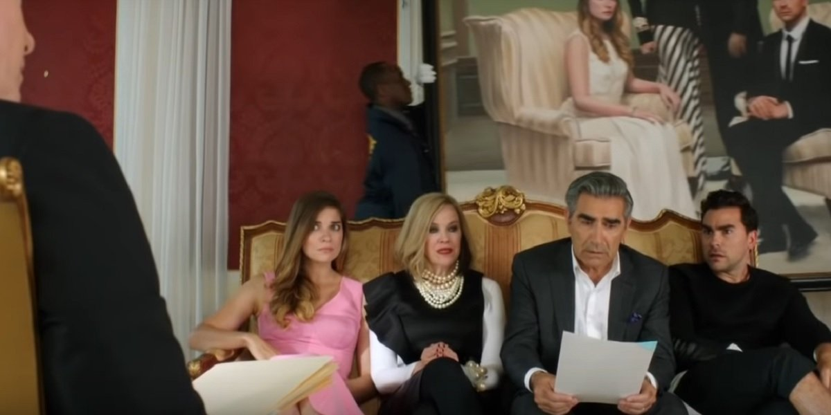 Dan Levy, Eugene Levy, Catherine O'Hara, and Annie Murphy in Schitt's Creek