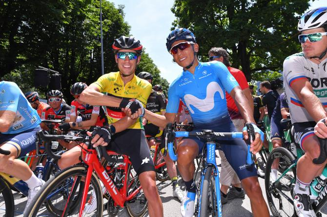 Richie Porte and Nairo Quintana at the start of stage 8 at the tour de Suisse