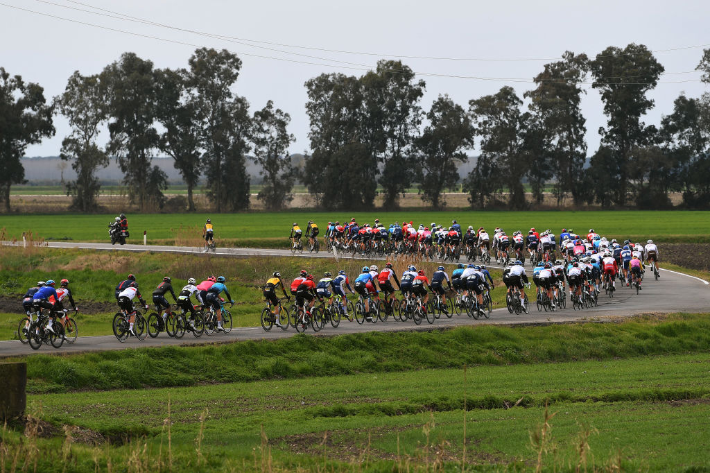The Tirreno-Adriatico peloton lines out during stage 2