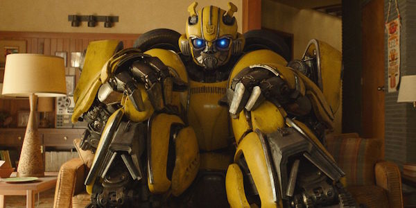 Bumblebee movie sitting on couch