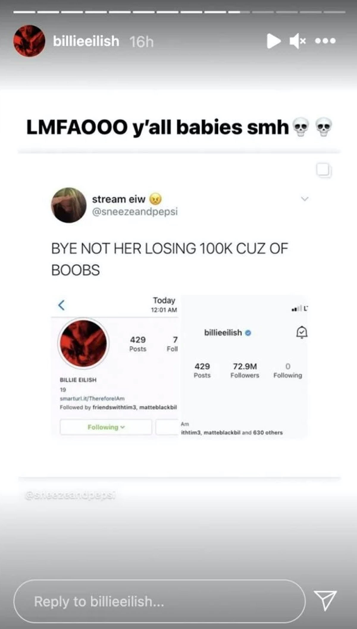 Billie Eilish losing followers response, boob drawings