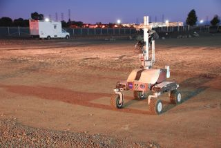 "K10 rover at dawn in the Ames Research Center's specially built ""Roverscape"""