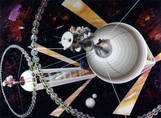 A vintage artist's depiction of a space station.