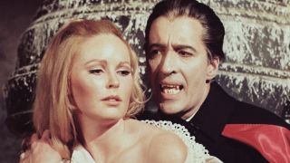 Veronica Carlson and Christopher Lee in the 1968 film, Dracula Has Risen from the Grave