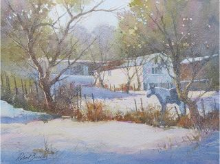 Watercolour snow painting