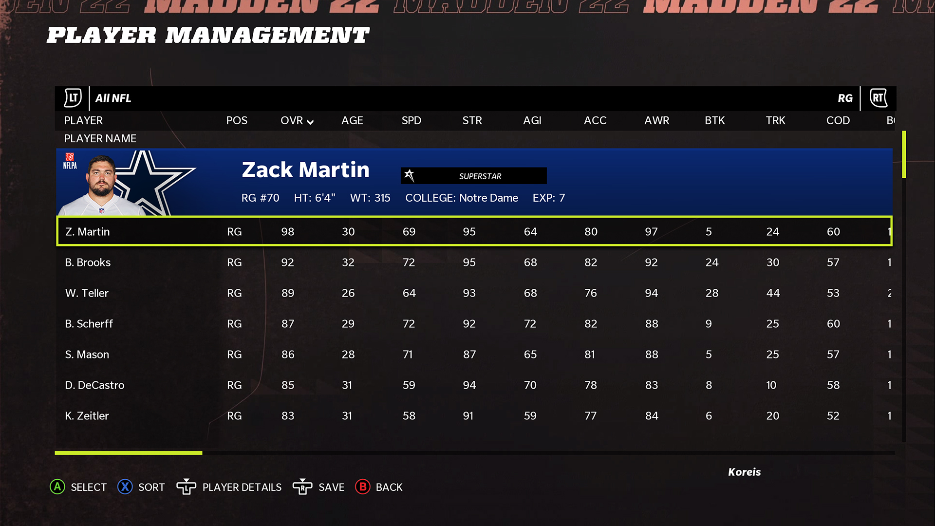 Madden NFL 22 offensive line