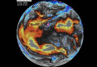 Water vapor across the globe on Jan. 3, 2018.
