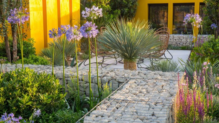 landscaping ideas with rocks: Santa Rita Living La Vida 120 Garden - view towards home office studio in Mediterranean climate garden with grey stone paved patio seating area with table and cane chairs - yellow screen wall and planting of drought tolerant plants - Agapanthus 'Blue Storm', Yucca rostrata 'Blue Swan', Pittosporum tobira 'Nanum' and Salvia nemorosa - Designer: Alan Rudden - Sponsor Santa Rita wine - RHS Hampton Court Flower Show July 2018