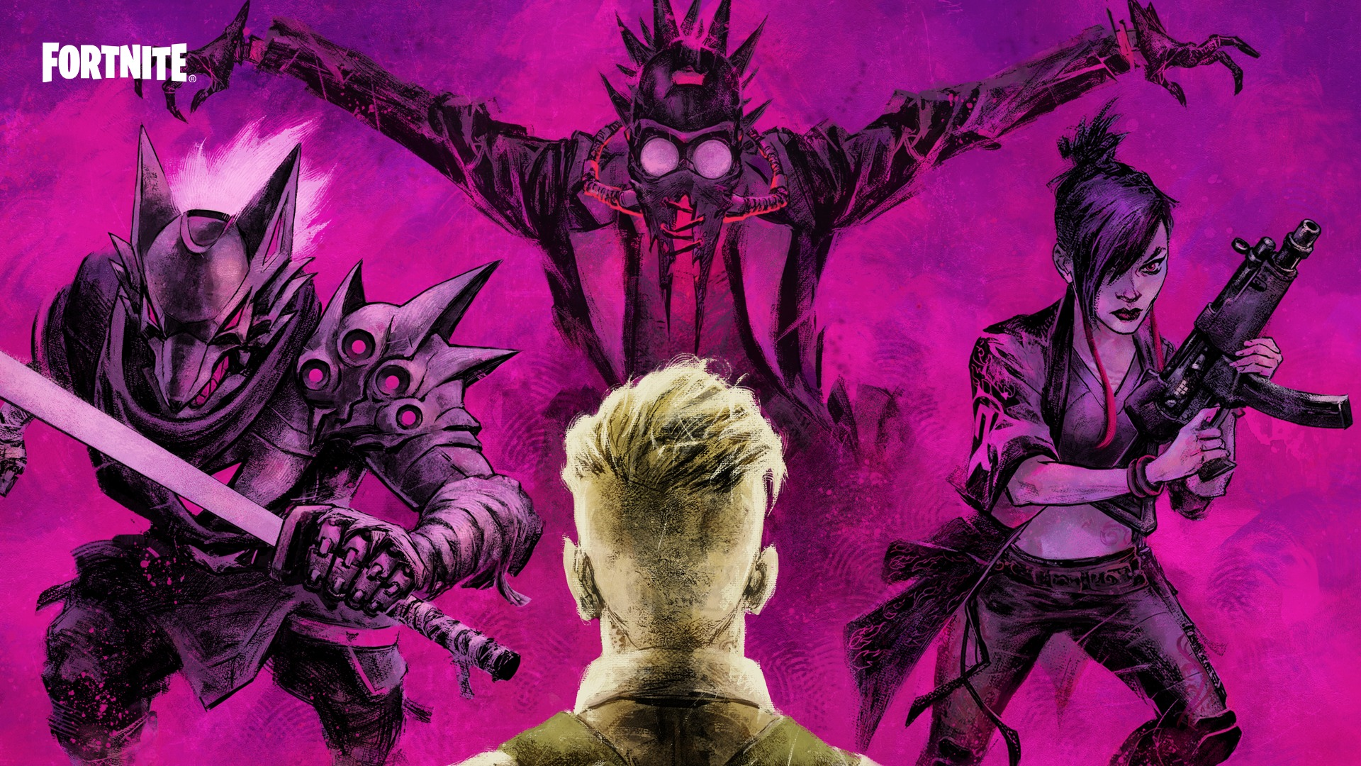 The back of Midas' head looking at three looming figures: a knight in wolf-like armor, a person in a gasmask with a trenchcoat and red tie, and a person wielding an SMG in cyberpunk-style clothing