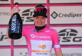SANMARCOLACATOLA ITALY SEPTEMBER 18 Podium Anna Van Der Breggen of The Netherlands and Boels Dolmans Cycling Team Pink Leader Jersey Celebration Champagne during the 31st Giro dItalia Internazionale Femminile 2020 Stage 8 a 915km stage from Castelnuovo della Daunia to San Marco la Catola 640m GiroRosaIccrea GiroRosa on September 18 2020 in San Marco la Catola Italy Photo by Luc ClaessenGetty Images