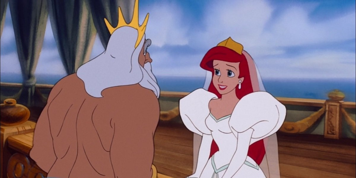 King Triton and Ariel in The Little Mermaid