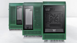 The new case, in green
