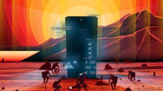 Mobile design: Apes gather in front of a Monolithic black smartphone; it glows with various UI elements. In the background lies a mountain range lit by a rising sun that radiates out in concentric circles.