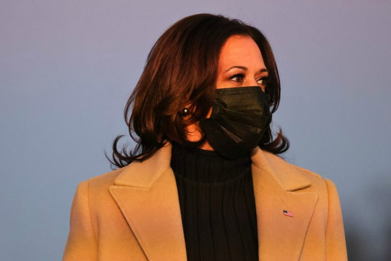Vice President Kamala Harris at a memorial for victims of the coronavirus (COVID-19) pandemic at the Lincoln Memorial on the eve of the presidential inauguration on January 19, 2021 in Washington, DC