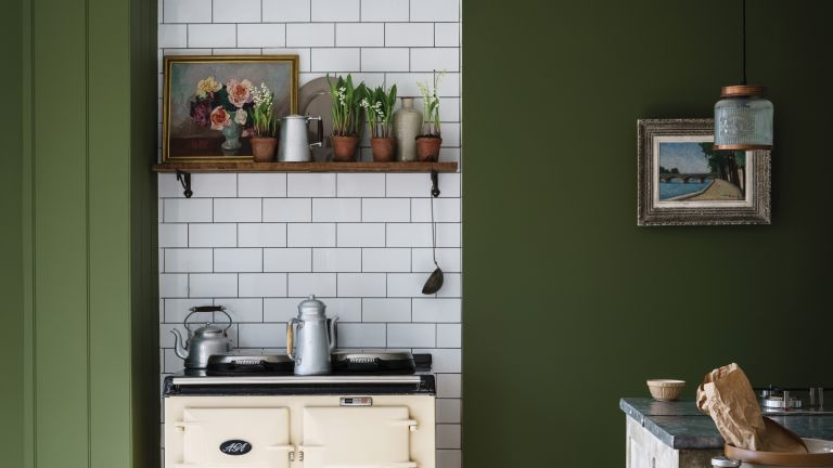 Green painted kitchen by Farrow & Ball