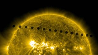 On June 5-6, 2012, NASA's Solar Dynamics Observatory collected images of one of the rarest predictable solar events: the transit of Venus across the face of the Sun.