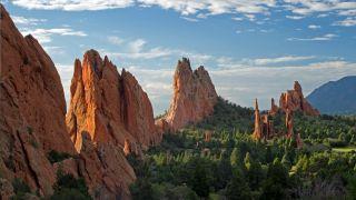 Garden of the Gods glints in the sunlight in Colorado Springs