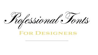 Professional fonts for designers title in black and gold script and display fonts
