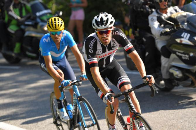 Tom Dumoulin (Sunweb) on the attack with Alejandro Valverde (Movistar)