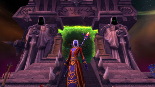 A nightborne mage stands in front of the Dark Portal