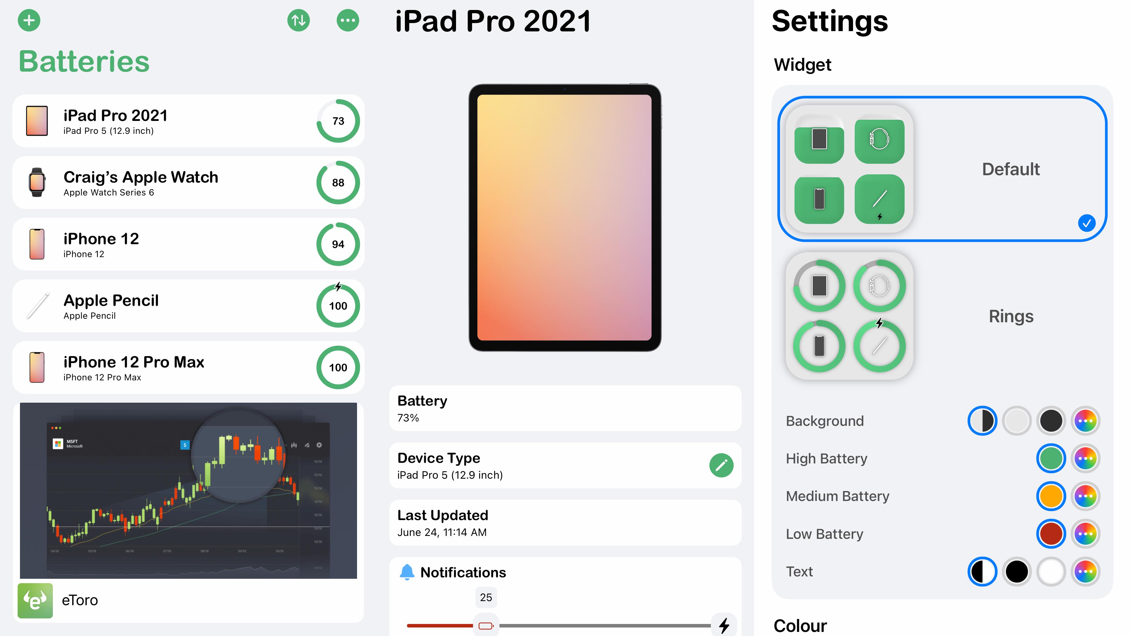 Screenshots showing Cloud Battery