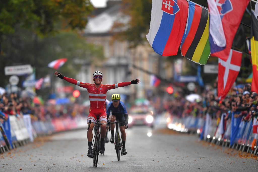 HARROGATE ENGLAND SEPTEMBER 29 Arrival Mads Pedersen of Denmark Celebration Matteo Trentin of Italy during the 92nd UCI Road World Championships 2019 Men Elite Road Race a 2618km race from Leeds to Harrogate 125m RR Yorkshire2019 Yorkshire2019 on September 29 2019 in Harrogate England Photo by Tim de WaeleGetty Images