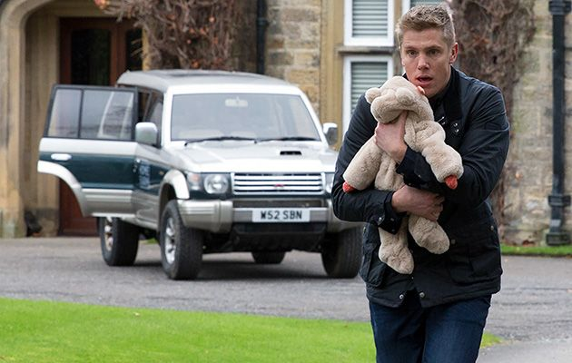 Robert Sugden snatches Seb as the Whites pack the car to leave. He sets off at pace with Seb in his car. The White's frantically take chase in Emmerdale