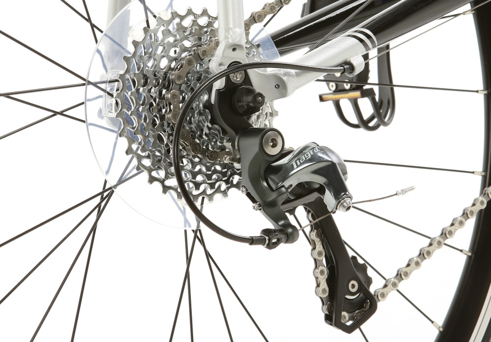 Rear mech has long cage to handle a wide gear range