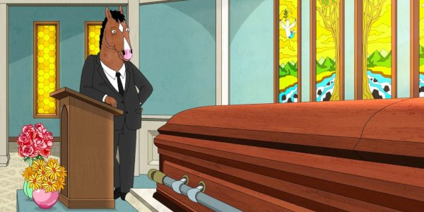 Bojack Horseman looking at his mother's casket