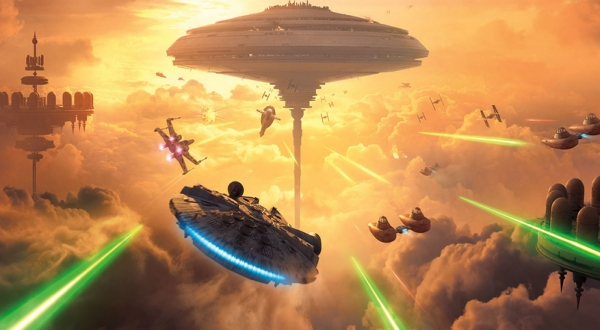 ships fly in cloud city Star Wars Battlefront