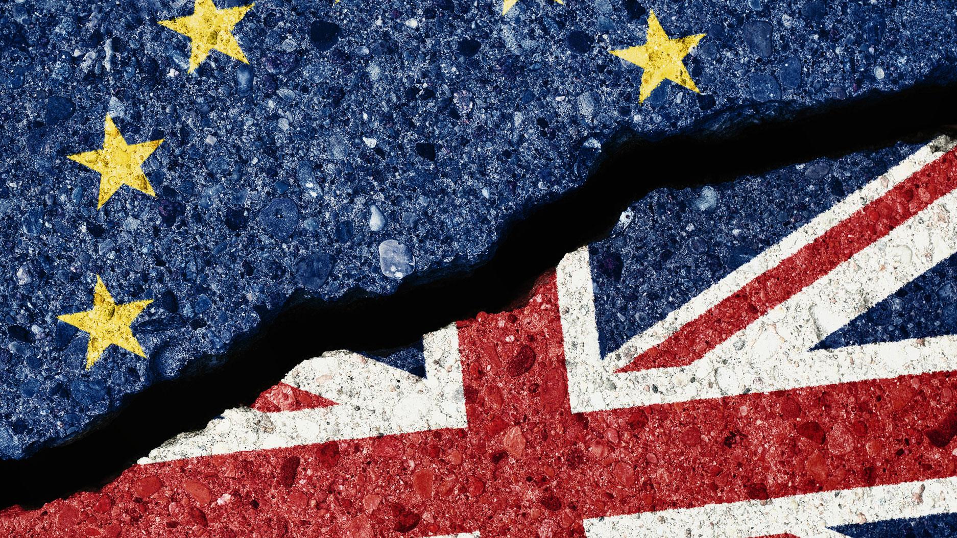 EU flag next to UK flag