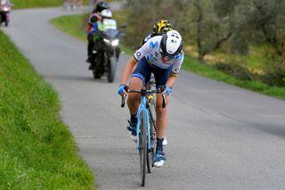 Anna van der Breggen (Movistar) suffers on a climb at Strade Bianche