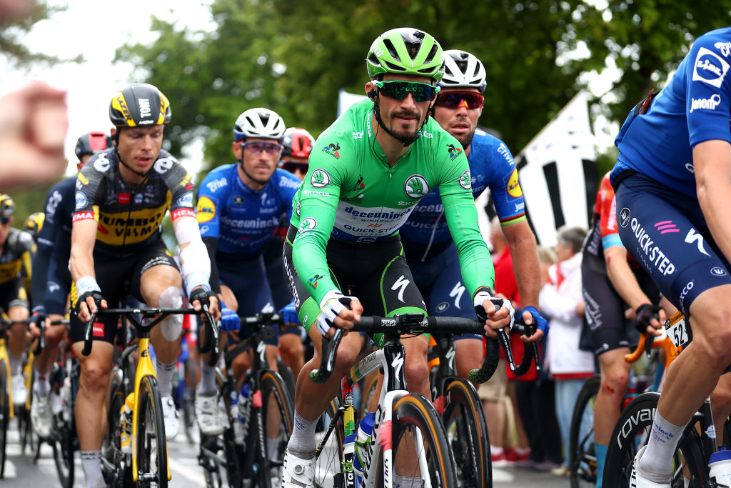 PONTIVY FRANCE JUNE 28 Julian Alaphilippe of France Green Points Jersey Mark Cavendish of The United Kingdom and Team Deceuninck QuickStep during the 108th Tour de France 2021 Stage 3 a 1829km stage from Lorient to Pontivy LeTour TDF2021 on June 28 2021 in Pontivy France Photo by Michael SteeleGetty Images