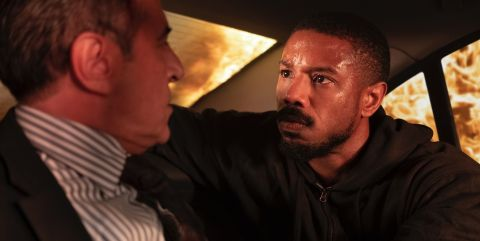 Grieving Navy SEAL John Kelly (Michael B. Jordan) interrogates a Russian diplomat for information about the men who killed his pregnant wife Pam (Lauren London) in Stafeno Sollima's 'Without Remorse.'