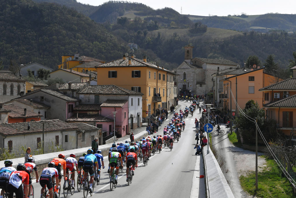 FOSSOMBRONE ITALY MARCH 16 Fossombrone Village Peloton Landscape Mountains Church during the 54th TirrenoAdriatico 2019 Stage 4 a 221km stage from Foligno to Fossombrone TirrenoAdriatico on March 16 2019 in Fossombrone Italy Photo by Tim de WaeleGetty Images