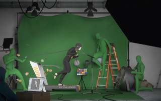 An image by artist Julienne Aldrich for the Alternate Realities 3D Challenge. A man in a motion capture suit pulls a chain while on a treadmill.