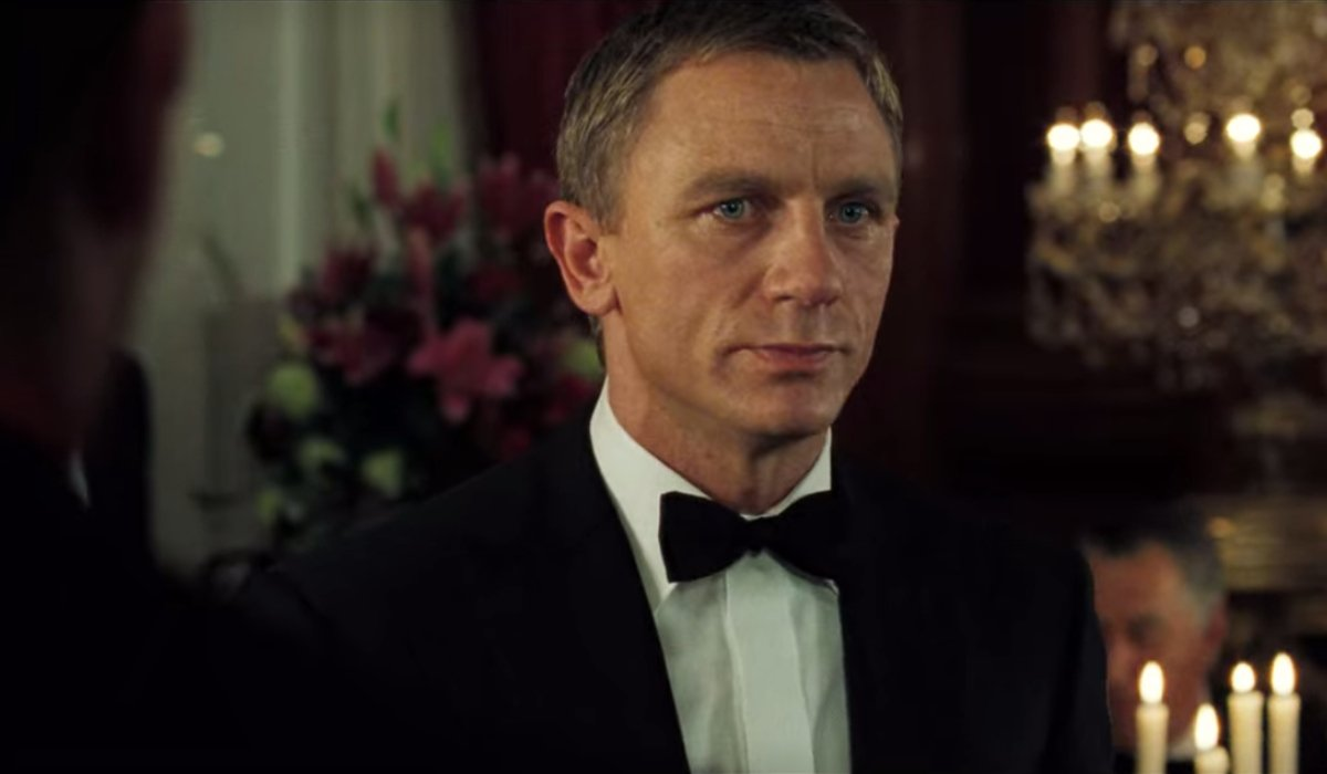 Daniel Craig looks annoyed ordering a martini in Casino Royale.