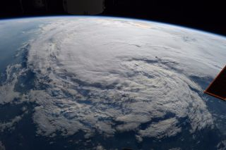 A view of tropical storm Harvey taken from the International Space Station and posted on Twitter by NASA astronaut Randy Bresnik.