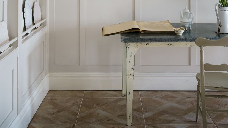 how to fit skirting boards: skirting board painted in Farrow and Ball School House White