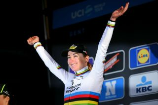 NINOVE BELGIUM FEBRUARY 29 Podium Annemiek Van Vleuten of The Netherlands and Team MitcheltonSCOTT World Champion Jersey Celebration during the 75th Omloop Het Nieuwsblad 2020 Women Race a 1229km race from Ghent to Ninove OmloopHNB OHN20 OHNwomen on February 29 2020 in Ninove Belgium Photo by Luc ClaessenGetty Images