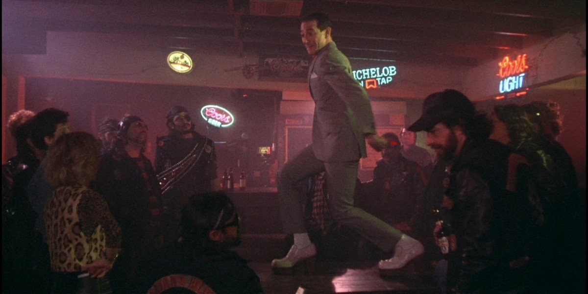 Paul Reubens and the Biker Gang in Pee-Wee's Big Adventure