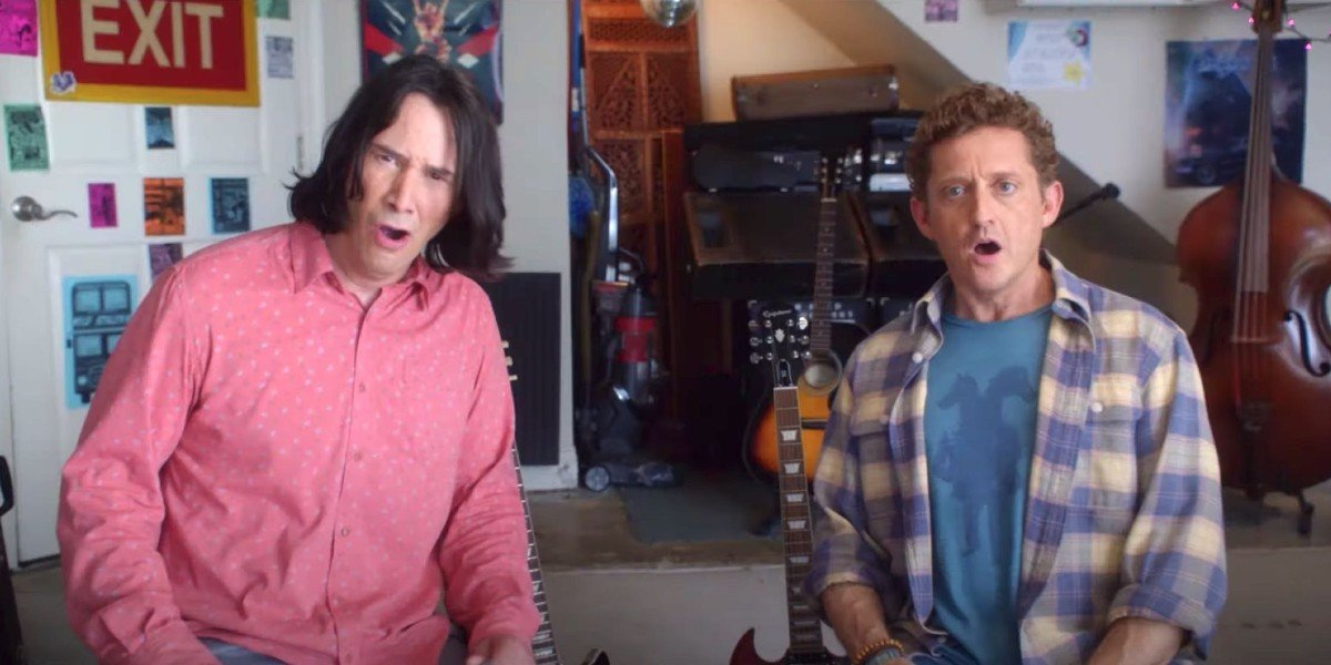 Bill & Ted Face The Music Keanu Reeves and Alex Winter shocked sitting in the garage